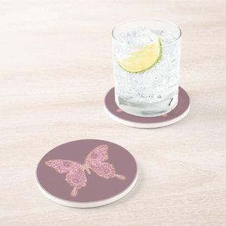 Porta-copos De Arenito Arenito cor-de-rosa da borboleta tribal de Paisley