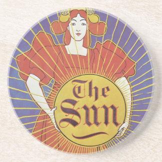 Porta-copos De Arenito Arte Nouveau do vintage, jornal de New York Sun