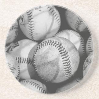 Porta-copos De Arenito Basebol em preto e branco
