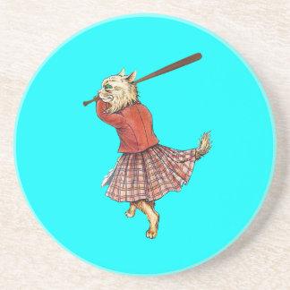 Porta-copos De Arenito basebol escocês do vintage que joga o gato