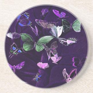 Porta-copos De Arenito Borboletas coloridas no roxo