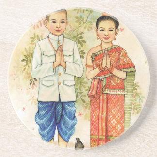 Porta-copos De Arenito Casal asiático doce
