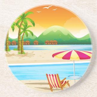 Porta-copos De Arenito Cena da praia com cadeiras e guarda-chuva