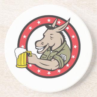 Porta-copos De Arenito Círculo do bebedor de cerveja do asno retro
