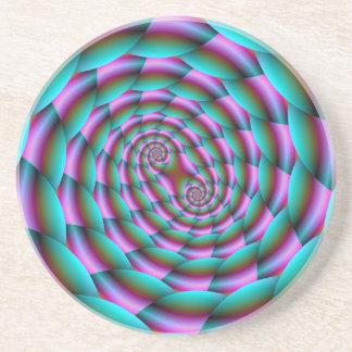 Porta-copos De Arenito Espiral da pele de cobra na turquesa e na porta