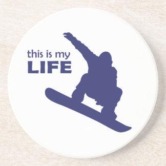 Porta-copos De Arenito Esta é minha vida (a snowboarding)