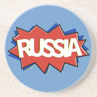 Porta-copos De Arenito Explosão da estrela da bandeira do russo