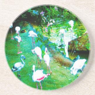 Porta-copos De Arenito Flamingos cor-de-rosa
