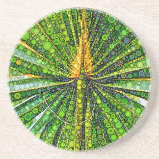 Porta-copos De Arenito Folha de palmeira mexicana do fã