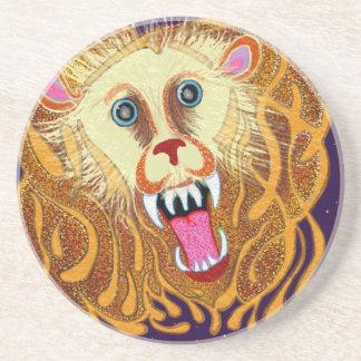 Porta-copos De Arenito Leo o leão dourado