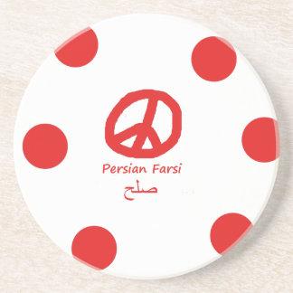 Porta-copos De Arenito Língua da persa e design persas do símbolo de paz