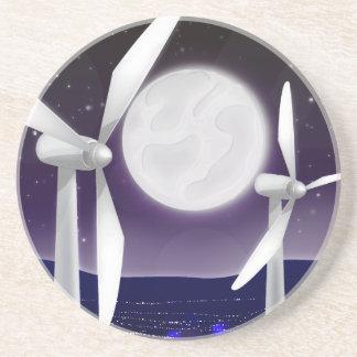 Porta-copos De Arenito Luzes da cidade da turbina do moinho de vento na