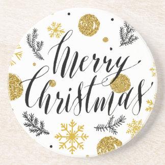 Porta-copos De Arenito Mão dourada do Feliz Natal do brilho baseado num