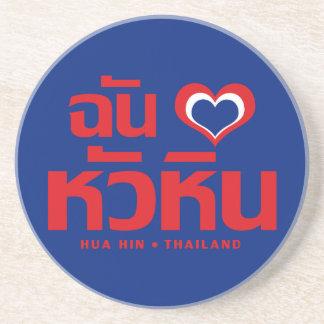 Porta-copos De Arenito Mim ❤ Tailândia de Hua Hin do coração (amor)