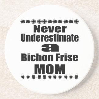 Porta-copos De Arenito Nunca subestime a mamã de Bichon Frise
