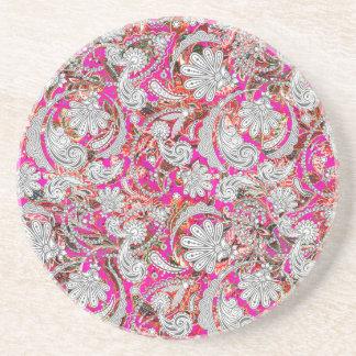 Porta-copos De Arenito Padrões cor-de-rosa brancos bonitos de paisley