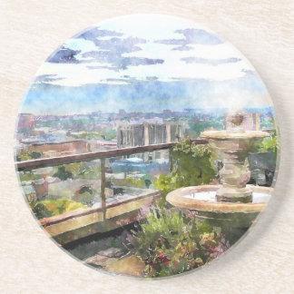 Porta-copos De Arenito Paisagem da arte da aguarela do jardim do telhado