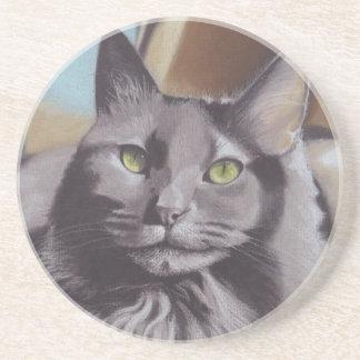 Porta-copos De Arenito Retrato cinzento do animal de estimação do gato