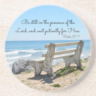 Porta-copos De Arenito Seja ainda na presença do senhor, 37:7 do salmo