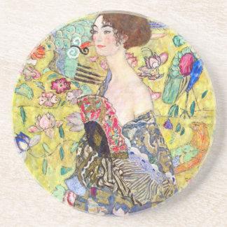 Porta-copos De Arenito Senhora com o fã por Gustavo Klimt, Japonism do