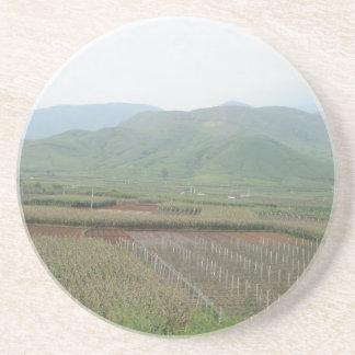Porta-copos De Arenito terra do céu da montanha da grama do cenário