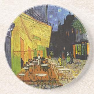 Porta-copos De Arenito Terraço do café na noite Van Gogh