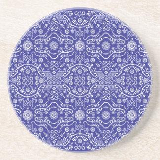 Porta-copos De Arenito Teste padrão azul Paisley do Bandana