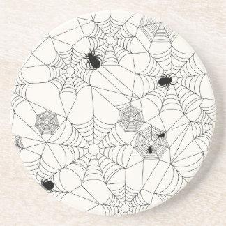 Porta-copos De Arenito Teste padrão do Dia das Bruxas das Web de aranha