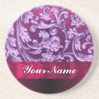 Porta-copos De Arenito Teste padrão floral do damasco malva na magenta