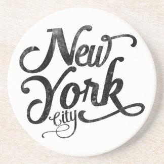 Porta-copos De Arenito Tipografia do vintage da Nova Iorque