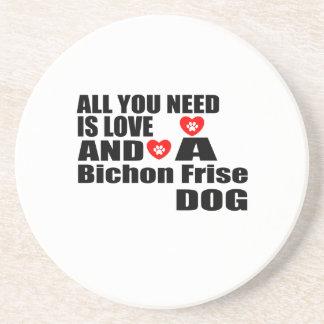 Porta-copos De Arenito Tudo você precisa o design dos cães de Bichon