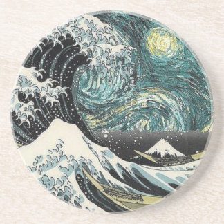 Porta-copos De Arenito Van Gogh a noite estrelado - Hokusai a grande onda