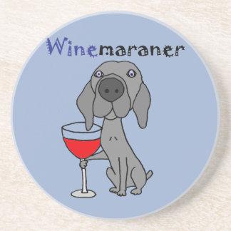 Porta-copos De Arenito Vinho tinto engraçado do bebendo do cão de