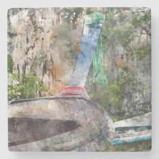 Porta Copos De Pedra Barco longo tradicional em Tailândia