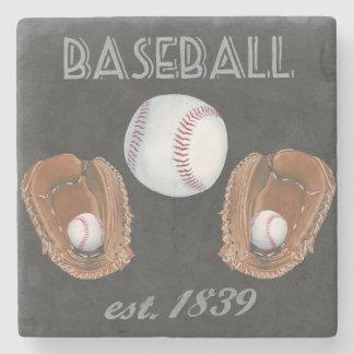Porta Copos De Pedra Design do quadro do basebol do vintage