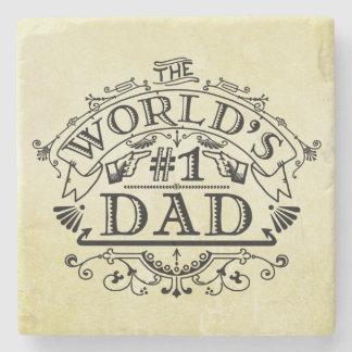 Porta Copos De Pedra Flourish do vintage do pai do número um do mundo