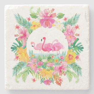 Porta Copos De Pedra Grinalda floral tropical & flamingos cor-de-rosa
