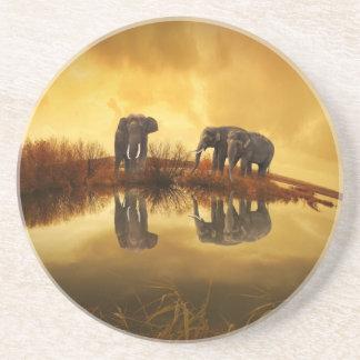 Porta-copos Elefantes asiáticos em Tailândia sob um por do sol