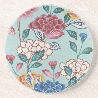 Porta copos floral do arenito da arte do vintage