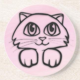 Porta-copos Gato bonito que espreita o rosa