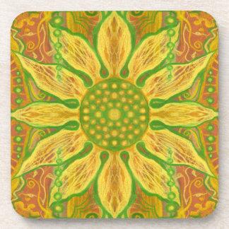 Porta-copos Laranja floral boémia do verde amarelo da arte da