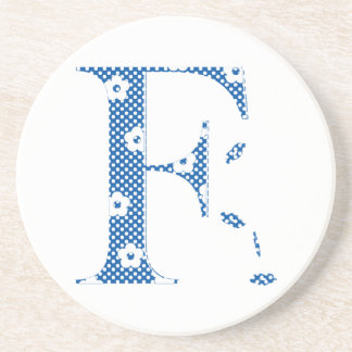 Porta-copos letra modelada F da flor (azul & pontos)