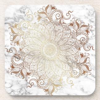 Porta-copos Mandala - ouro & mármore