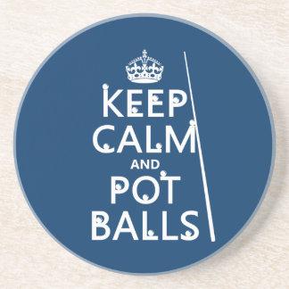 Porta-copos Mantenha a calma e as bolas do pote