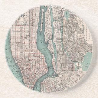 Porta-copos Mapa do vintage de New York (1897)