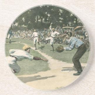 Porta-copos O vintage ostenta, jogador de beisebol que desliza