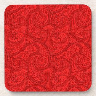Porta-copos Paisley vermelho