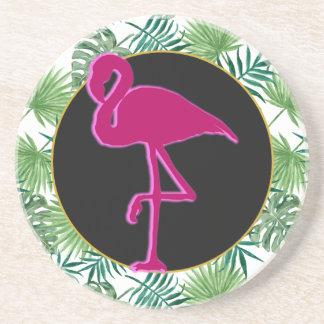 Porta-copos Teste padrão tropical das folhas e flamingo