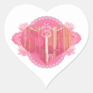 Porta dada forma coração com chave de esqueleto adesivo coração