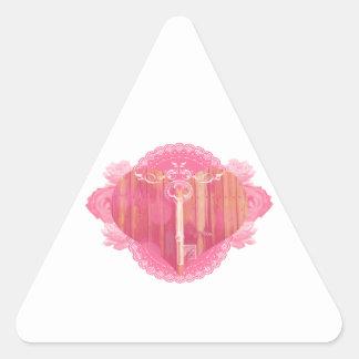 Porta dada forma coração com chave de esqueleto adesivo triangular